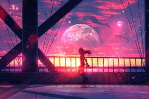 Girl Walking With Headphones Anime Digital Art