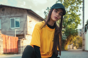 Girl Wearing Back Hat Posing