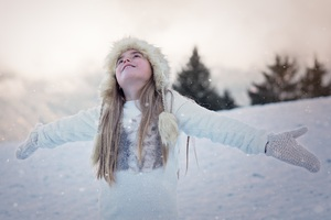 Girl Wearing Cap Gloves Snow Playing Wallpaper