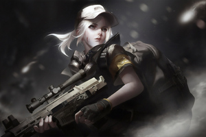 Girl Wearing Cap With Gun Wallpaper
