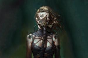 Girl Wearing Mask Cyberpunk