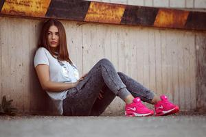 Girl Wearning Nike Sneakers Wallpaper