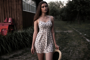 Girl White And Black Floral Spaghetti Strap Dress 5k Wallpaper