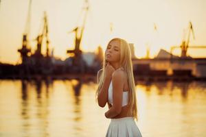 Girl White Dress Closed Eyes Wallpaper