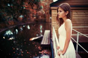 Girl White Dress Looking Away 4k Wallpaper