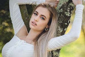 Girl White Dress Tree Branch 4k Wallpaper