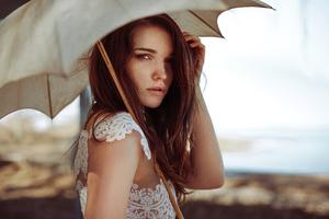 Girl White Dress Umbrella 4k Wallpaper