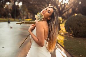 Girl White Dress With Flowers Closed Eyes 4k Wallpaper