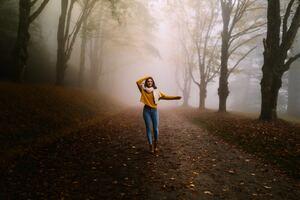 Girl Winter Alone Road Fog 5k Wallpaper