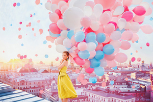 Girl With Balloons 4k Wallpaper