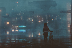 Girl With Bicycle On Roof Top 4k Wallpaper