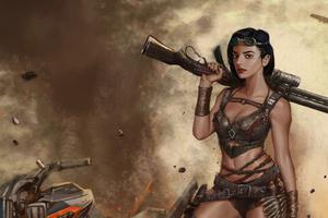 Girl With Big Gun 4k Wallpaper