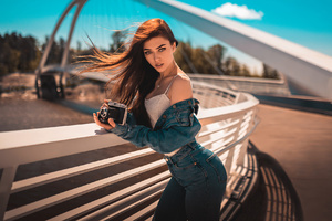 Girl With Camera On Bridge Wallpaper