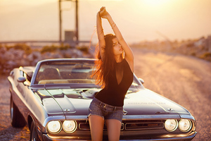 Girl With Dodge Challenger 4k Wallpaper