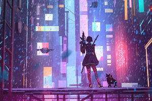 Girl With Dog In Cyber City 5k Wallpaper