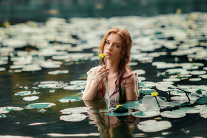 Girl With Flower In Water 4k Wallpaper