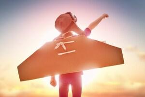 Girl With Flying Cardboard