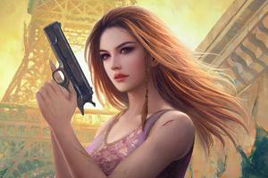 Girl With Gun 2020 Wallpaper