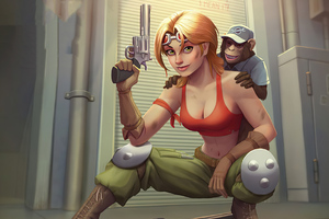 Girl With Gun And Monkey Wallpaper