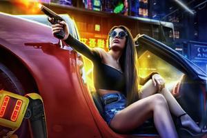 Girl With Gun In Car Pointing Gun Scifi 5k Wallpaper