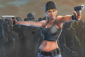 Girl With Gun Killing Zombies Wallpaper