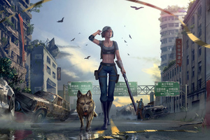 Girl With Gun Walking Downtown With Dog Wallpaper