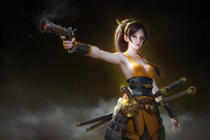 Girl With Guns And Sword Wallpaper