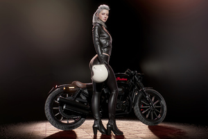 Girl With Harley Davidson Wallpaper