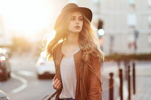 Girl With Hat And Leather Jacket Wallpaper