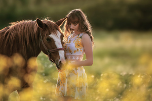 Girl With Horse In Field 4k Wallpaper