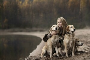 Girl With Labradors Wallpaper