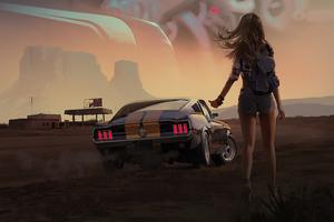 Girl With Mustang 4k Wallpaper