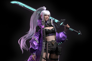 Girl With Neon Sword 4k Wallpaper