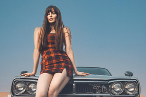 Girl With Nissan Skyline Gtr Classic 4k Wallpaper
