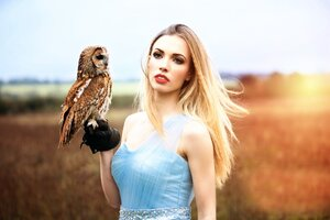 Girl With Owl HD Wallpaper