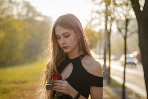 Girl With Red Rose In Hand 4k