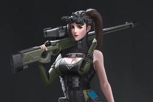 Girl With Rifle Artwork 4k Wallpaper