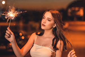 Girl With Sparkle Fireworks Wallpaper