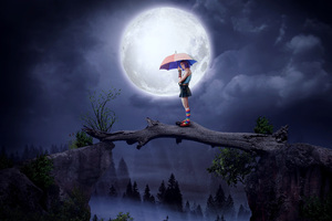 Girl With Umbrella Big Moon Digital Art 5k