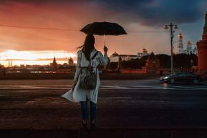 Girl With Umbrella Crossing Street 4k Wallpaper