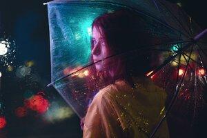 Girl With Umbrella Wallpaper