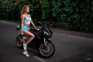 Girl With Yamaha R1 Motorcyle Wallpaper