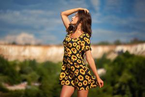 Girl Yellow Flower Dress Field Outdoor 4k Wallpaper
