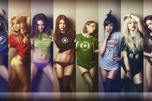 Girls Wearing SuperHeroes Shirts Wallpaper
