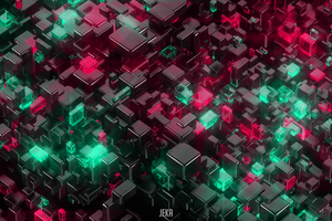 Glowing Cubes 4k Wallpaper