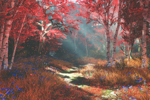 God Of War 4 Autumn Nature 4k