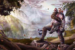 God Of War Atreus Kratos Fan Art Wallpaper