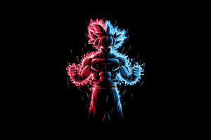 God Red Blue Goku Dragon Ball Z Wallpaper