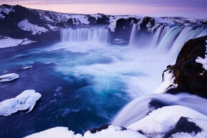 Godafoss Falls Waterfall Snow Wallpaper
