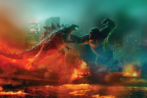Godzilla Vs Kong Fight 5k Wallpaper
